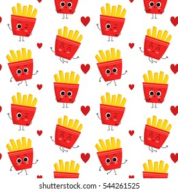 French fries, vector seamless pattern with cute fast food characters isolated on white with hearts
