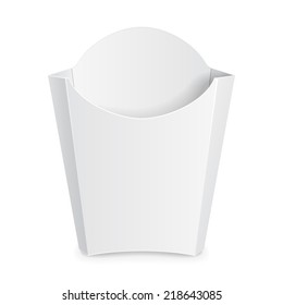 French Fries White Paper Box. On White Background Isolated. Ready For Your Design. Product Packing Vector EPS10