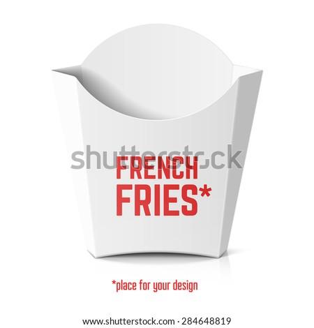 French Fries White Paper Box Template Stock Vektorgrafik Lizenzfrei
