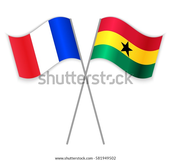 French and Ghanaian crossed flags. France combined with Ghana isolated on white. Language learning, international business or travel concept.
