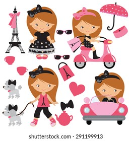 French girl vector illustration