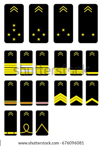 French Grades Stripes Military Ranks Insignia Stock Vector Royalty