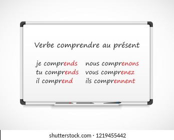 French grammar. Verbs conjugation - verb 'comprendre' in Present tense