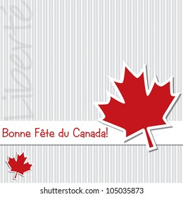 French 'Happy Canada Day' sticker card in vector format.