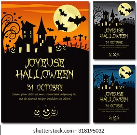 French happy Halloween 31th october  invitation poster illustration design text outline no drop shadow version 10