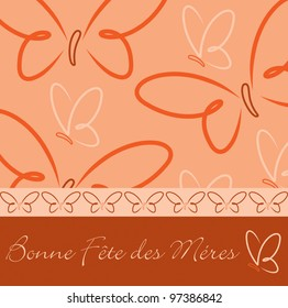 French Happy Mother's Day butterfly card in vector format.
