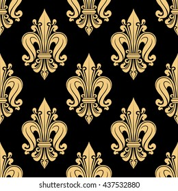 French heraldic seamless floral pattern of yellow fleur-de-lis motif on black background with royal lilies bunches. Use as vintage interior accessories or upholstery design