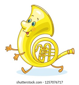 French horn- brass musical instrument. In cartoon style isolated on white background.