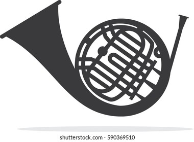 French horn gold vector icon