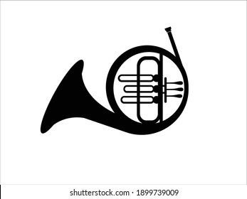 French horn icon. Vector concept illustration for design. Isolated on white background.