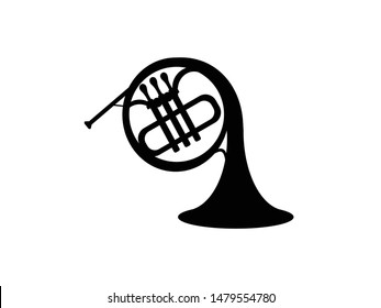 French horn isolate black on white background