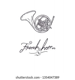 French horn music instrument outline drawing vector cartoon illustration with lettres text font calligraphy tittle. Brass instrument sketch decoration drawing. French horn music object silhouette.