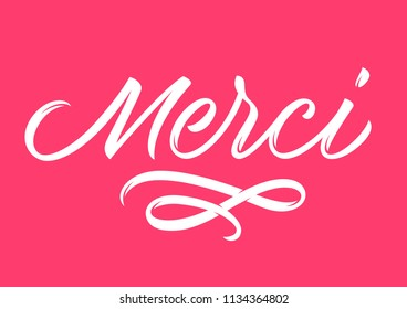french inscription thank you, calligraphy, handwritten text, lettering