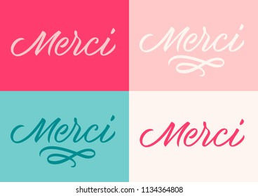 french inscription thank you, calligraphy, handwritten text, lettering, set of card