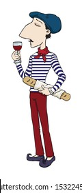 French / Italian Man with baguette and glass of wine, vector illustration