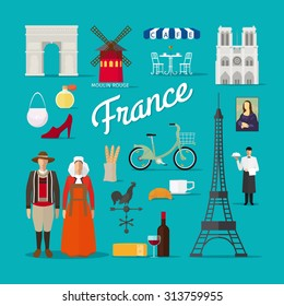 French Landmarks and Culture. Paris in France vector illustration. Traditional costume.