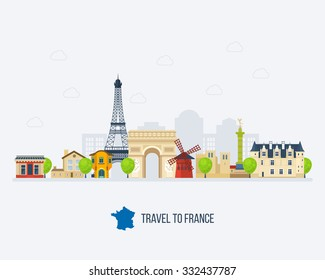 French Landmarks. Travel to France. Eiffel tower, Notre Dame in Paris, France