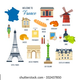 French Landmarks. Vector travel destinations icon set. Eiffel tower, Notre Dame, Moulin Rouge, castle in Paris, France