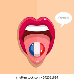 French language concept. French language tongue open mouth with French flag, woman face. Flat design, vector illustration.
