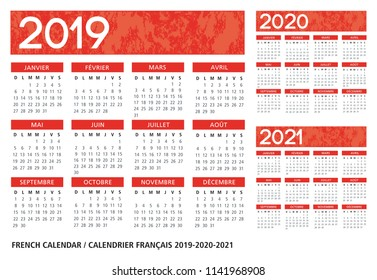 French language orange textured calendar 2019-2020-2021 vector template text is outline font is frutiger