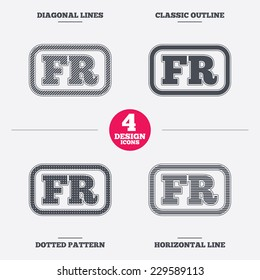 French language sign icon. FR France translation symbol with frame. Diagonal and horizontal lines, classic outline, dotted texture. Pattern design icons.  Vector