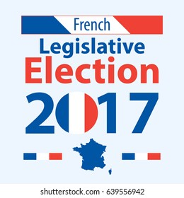 French legislative election. French flag text legislative election. Legislative elections 15th National Assembly. Text in national colors day Legislative elections. Poster in national colors of France