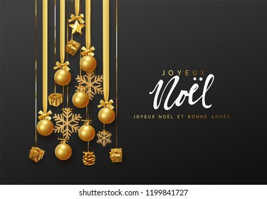 French lettering Joyeux Noel. Christmas greeting cards, banner, poster, bright invitations. Design hanging pine tree in golden ribbons holiday decorations balls and gifts the gold shining snowflake.