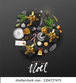 French lettering Joyeux Noel. Christmas greeting card with holiday objects. Background with gift box and balls design. Postcard with clocks, candles and fir branches. Xmas decoration elements.
