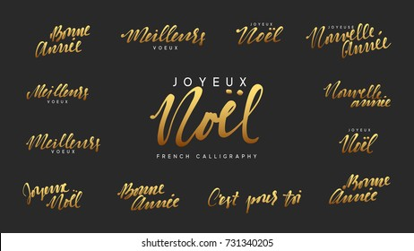 French lettering Joyeux noel, Meilleurs Voeux, Bonne annee. Merry Christmas and Happy New Year, golden text calligraphy