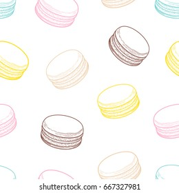French macarons cookies seamless pattern. Doodle decorative hand drawn vector illustration