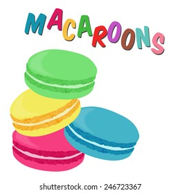 French macaroon cookies on white background, vector illustration