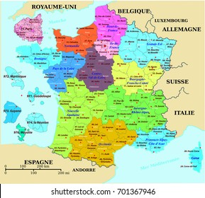 French map of France, colorized, with departments and prefectures