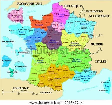 Map Of France And Luxembourg.French Map France Colorized Departments Prefectures Stock Vector