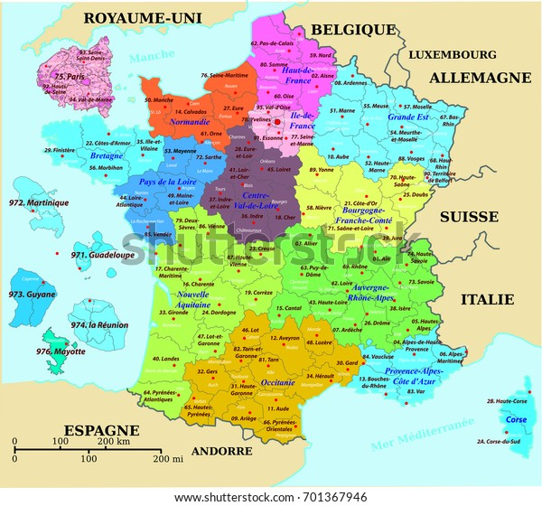 Map Of France Departments.French Map France Colorized Departments Prefectures Stock Vector