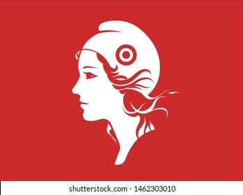 French Marianne with Phrygian cap vector illustration, postage stamp modern design with red background. Inspired by Eugène Delacroix's painting and Marianne de Beaujard.