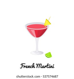 French Martini alcoholic cocktail with garnish in cartoon style isolated on white background.