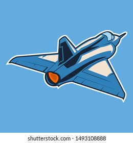 French modern fighter jet icon vector illustration