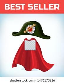 french Napoleon Bonaparte tricorn hat. Black tricorn. Masquerade costume headdress. Carnival or Halloween mask. Cartoon Vector illustration. Red cape