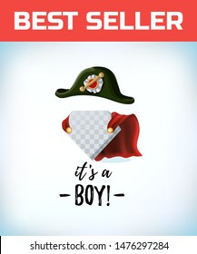 french Napoleon Bonaparte tricorn hat. Its a boy in vintage style. Comic style. Cartoon Vector illustration.