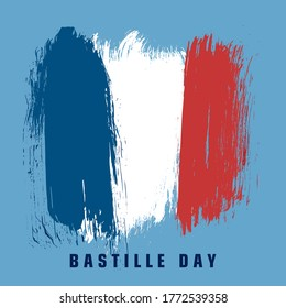 French National Day, 14th of July brush stroke banner in colors of the national flag of France. vector illustration.
