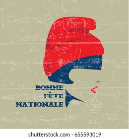 "French National Day or The Fourteenth of July Greeting Poster. Text in French ""Happy National Day"". Vintage grunge stamp on a wooden texture."