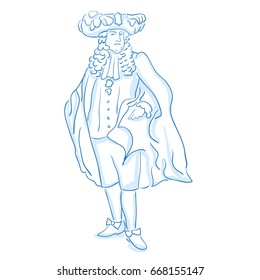 French nobility privileged social class in medieval Europe. Duke, baron, count. Line sketch. Stock vector illustration