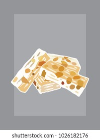 French nougat vector illustration with white outline on a grey background