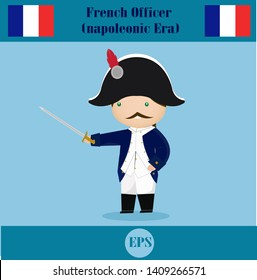 French officer soldier cute cartoon vector illustration, Napoleonic army.