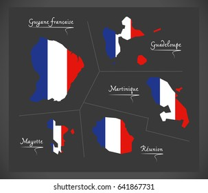 French overseas departments map with French national flag illustration