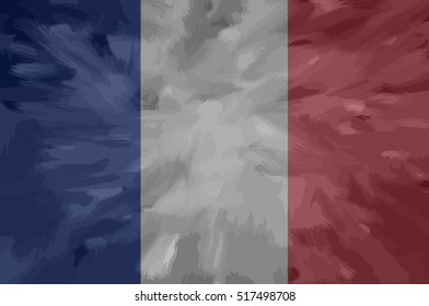 French painted / drawn vector flag. Dramatic, unusual look. Vector file contains flag and texture layers