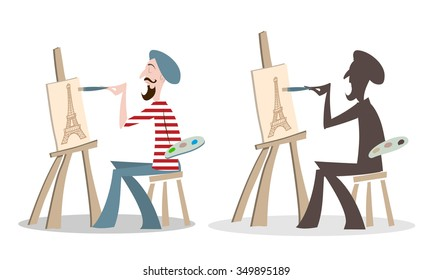 French Painter Cartoon Silhouette painting the Eiffel tower
