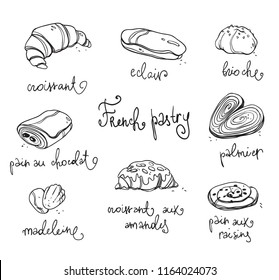 French pastry. Traditional baked desserts.  Black and white vector sketch