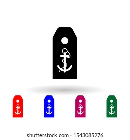 French petty officer shoulder boards military ranks and insignia multi color icon. Simple glyph, flat vector of Ranks in the French icons for ui and ux, website or mobile