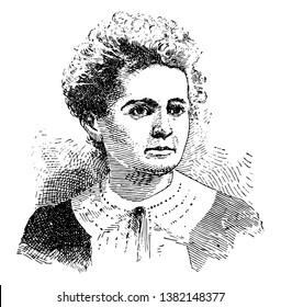 A French physicist and chemist famous for her work on radioactivity. She was the first person honored with two Nobel prizes, in physics and chemistry, vintage line drawing or engraving illustration.
